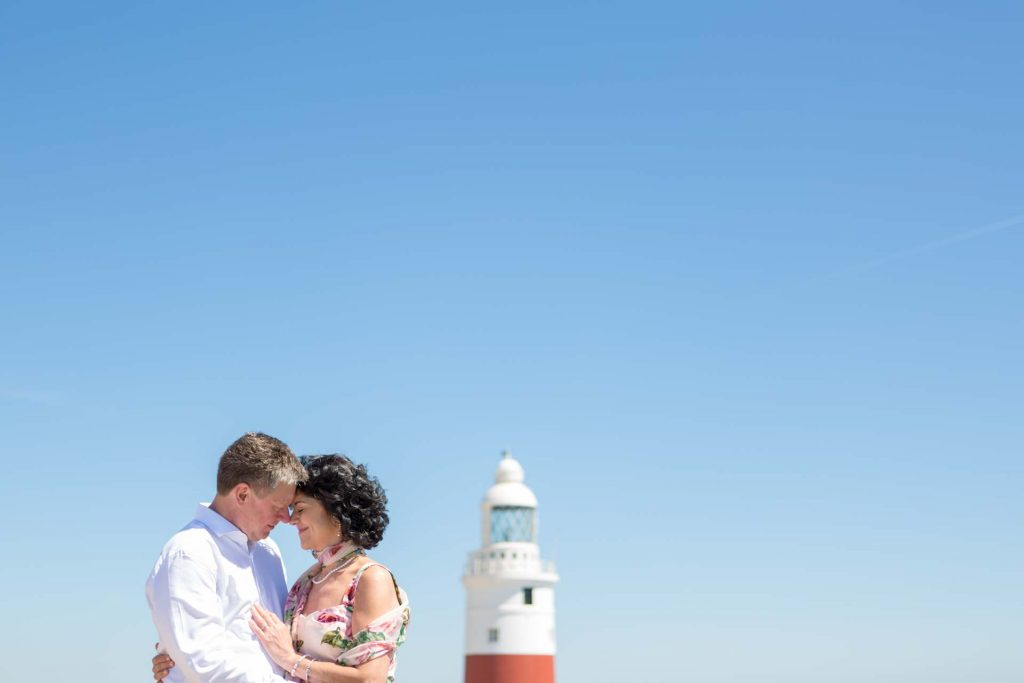 Europa Point, couple embrace