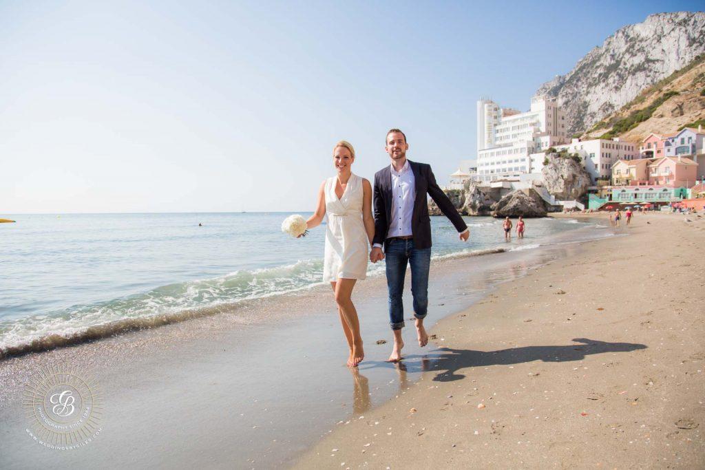 beach wedding photo shoot in Gibraltar