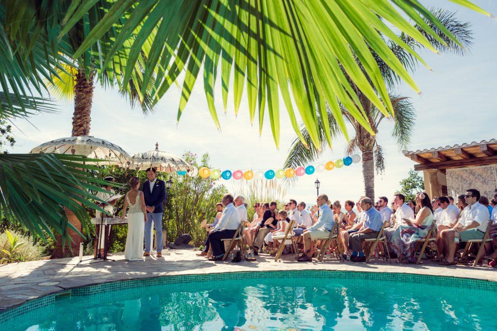 Pool side wedding ceremony