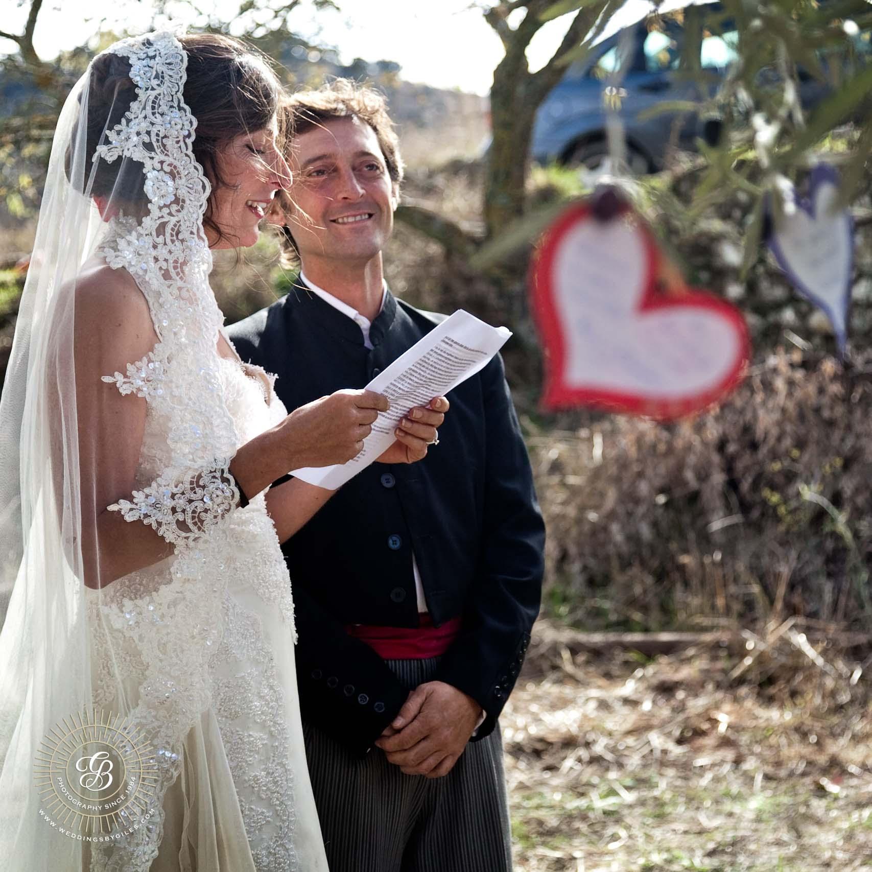 The brides wedding vows