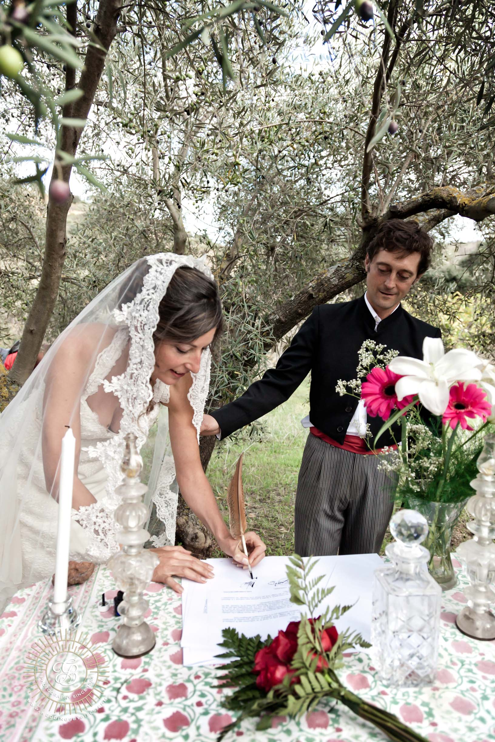 Bride signs the register