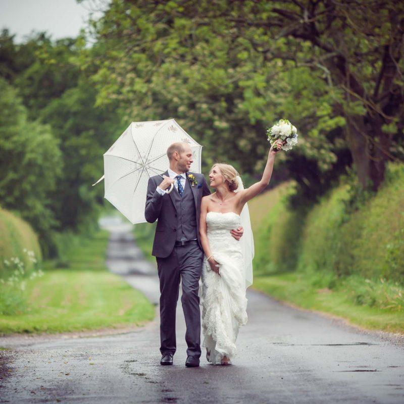 wedding in the rain
